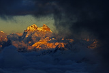 Mount Ushba (4,710M) before Sunset, with Low Clouds in Valleys, Seen from Elbrus, Caucasus, Russia Photographic Print by  Schandy