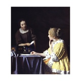 Lady with Her Maidservant Holding a Letter Giclee Print by Jan Vermeer