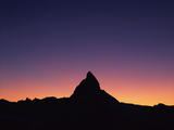 Matterhorn (4,478M) Silhouetted at Sunset, Viewed from Gornergrat, Wallis, Switzerland, September Photographic Print by  Popp-Hackner