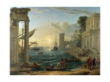 Seaport with the Embarkation of the Queen of Sheba Giclee Print by Claude Lorrain