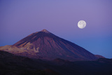 Full Moon over Teide Volcano at Sunrise, Teide Np, Tenerife, Canary Islands, Spain, December 2008 Photographic Print by Relanzón