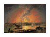 The Burning of Drury Lane Theatre from Westminster Bridge Giclee Print by Thomas Luny