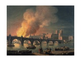 Westminster Bridge and the Burning of the Houses of Parliament from Lambeth Giclee Print by Thomas Luny