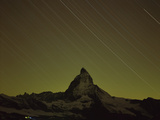 Matterhorn (4,478M) at Night, Long Exposure with Star Trails, Viewed from Gornergrat, Switzerland Photographic Print by  Popp-Hackner