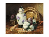 Still Life with an Urn and Mums Giclee Print by Eugene Henri Cauchois
