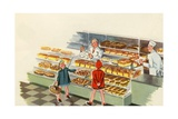 Boy and Girl Shopping at Bakery Giclee Print