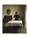 Untitled (Woman with Her Back Turned in a Dark Domestic Interior) Giclee Print by Vilhelm Hammershoi