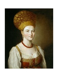 Portrait of a Woman in Traditional Russian Costume Giclee Print by Ivan Petrovich Argunov