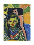 Franzi in Front of a Carved Chair Giclee Print by Ernst Ludwig Kirchner