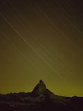 Matterhorn (4,478M) at Night, with Star Trails, from Gornergrat, Wallis, Switzerland, September Photographic Print by  Popp-Hackner