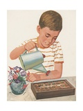 Boy Watering Plants Giclee Print