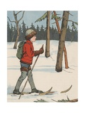 Boy Cross-Country Skiing Giclee Print