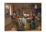 The Merry Family Giclee Print by Jan Havicksz. Steen