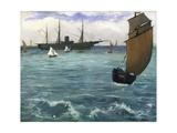 The 'Kearsarge' at Boulogne Stampa giclée di Edouard Manet