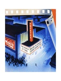 Art Deco Movie Theater on Opening Night Giclee Print