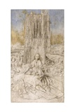 Saint Barbara Giclée-tryk af Jan van Eyck
