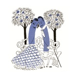 Illustration of Romantic Hot Dog Couple Sitting on a Park Bench Giclee Print