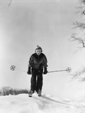 1930s Woman Holding Ski Poles Skiing in Snow Photographic Print