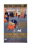 Central London Railway Lightning Parcel Express Poster Lámina giclée