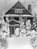 1940s Three Story Shingle Style House with Pine Trees and Shrubs Covered with Snow Photographic Print
