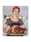 American Wife Presenting Perfect Thanksgiving Turkey Giclee Print