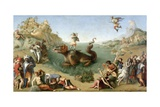 Andromeda Freed by Perseus (With Perseus Slaying the Dragon) Giclee Print by Piero di Cosimo
