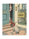 Sick Dog Arriving at Veterinary Hospital Giclee Print