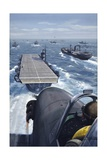 Airplane About to Land on an Aircraft Carrier in a Convoy Stampa giclée