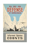 All Out for Defense of Democracy Poster Impression giclée