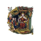 Initial Letter C with Queen Elizabeth I Giclée-Druck