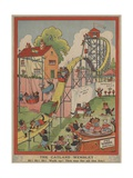 Cats at Amusement Park Giclee Print