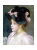 Young Girl in a Pink-And-Black Hat Giclee Print by Pierre-Auguste Renoir