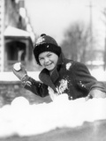 1920s-1930s Smiling Boy About to Throw Toss Snowball Playing Snow Fun Winter Cold Mischief Photographic Print