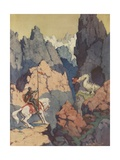 Knight on Horse Encountering Dragon in Mountains Giclee Print