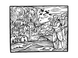 Witches Destroying a House by Fire Lámina giclée