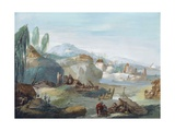 Landscape with Scenes from the Latin Epic Poem the Thebaid Giclee Print by Giuseppe Bernardino Bison