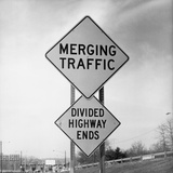 Merging Traffic Road Sign Photographic Print by Charles Rotkin
