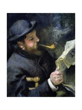 Claude Monet Reading a Newspaper Giclee Print by Pierre-Auguste Renoir
