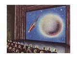 Audience Watching a Film About Outer Space Giclee Print