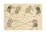 Martial Artists Fighting Lámina giclée por Katsushika Hokusai