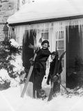 1940s 1930S Mother Son Standing Holding Skis in Front of Winter House with Icicles Photographic Print