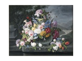 Still Life with Flowers and a Landscape Giclee Print by Severin Roesen