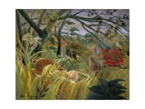 Tiger in a Tropical Storm (Surprised!) Giclée-tryk af Henri Rousseau