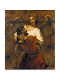 Jacob Wrestling with the Angel Giclee Print by  Rembrandt van Rijn