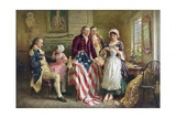 Betsy Ross Working on American Flag Giclée-Druck
