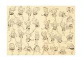 Men Dancing Giclee Print by Katsushika Hokusai