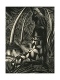 Tahitian Woman in Forest Giclee Print