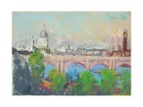 London over Waterloo Bridge Giclee Print by Joseph Pennell