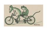 Rat and Frog Riding Tandem Bicycle Giclee Print