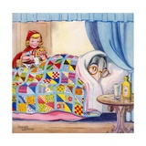 Big Bad Wolf Hiding in Grandmother's Bed Giclee Print